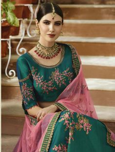 Dark green Art Silk A-line Lehenga Choli floral printed choli, floral printed sleeves with baby pink contrast dupatta for partywear