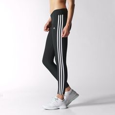adidas - Ultimate Fit 3-Streifen Tights Black / White D89633
