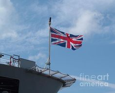 Union flag or Union Jack flown from Royal Navy ship at Plymouth Naval Docks - Open Day, Devon, England, UK. Photograph by & copyright Richard Brookes.    FAA watermark not included on any purchased item.