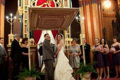 Traditional chuppah in a synagogue found on Modern Jewish Wedding Blog