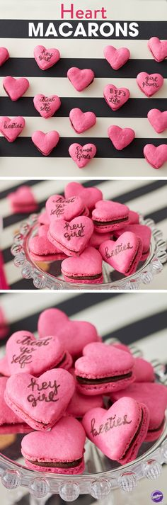Heart Shaped French Macarons - What better way to show all your BFFs just how you feel than with this traditional French cookie? Make them trend-worthy by baking in a vibrant fuschia color, filling with chocolate and writing fun messages on the cookies. Perfect for Valentine's Day, girl get-togethers, and bridal events.