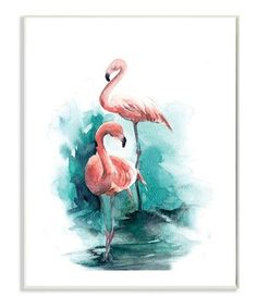 Look at this #zulilyfind! Flamingo Duo Watercolor Texture Wall Art #zulilyfinds