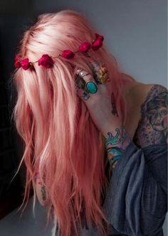 #Pink #Hair #floralHeadband #Style #fashion