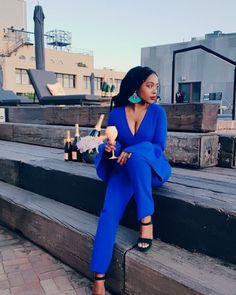Electric Blue Suit...Nomzamo Mbatha
