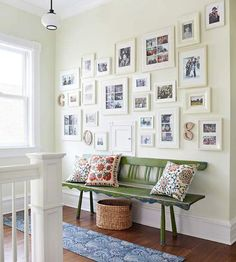 Gallery wall, Colorful bench and pillows. Comfy & bright.