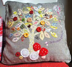 Family tree cushion with crochet mushrooms