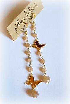 in arrivo le farfalle...... orecchini in argento 925, placcatura oro, pietre dure semipreziose, amazzonite , labradorite , ametista, gran...