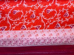 Indian Cotton Fabric Orange Red Cream Burgundy Heart by RaajMa