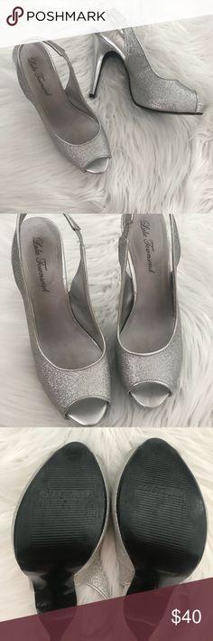 d510421f99e Silver slingback Glitter heels Lulu Townsend Glitter slingback heels 1 2  inch platform 4 1