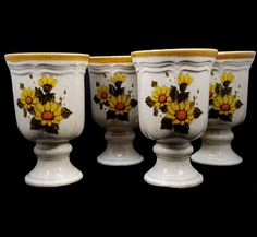 Mikasa Sunny Side 4 Goblets Stem Glasses Daisy More Pieces Avail Comb Ship EB802 #Mikasa