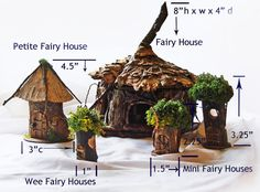 Fairy House ornaments set of 3 7 1 d. Indoor by TheElfinPeddler