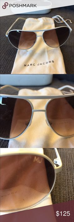 Marc Jacobs Sunglasses!  White Marc Jacobs Aviator Sunglasses with box and sunglass bag! Sunglasses are in great condition (box is a little worn down but the sunglasses are what's important!)  Marc Jacobs Accessories Sunglasses