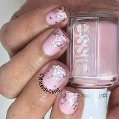 Pink glitter gradient nail art using Essie polish ... feminine & flirty