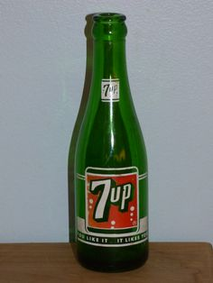 "Vintage 7-Up Bottle - Green Glass - Clean Condition - No Breaks or Cracks - Collectible 8"" Tall 7-Up Bottle - Duraglas Green Bottle - Fun by ChicAvantGarde on Etsy"