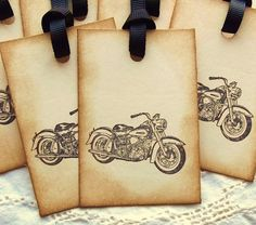 Vintage motorcycle hang tags.