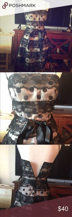 Cute Polk a Dot Dress Gorgeous black sheer and lace polka dot belted dress with  a champagne color liner Dresses Mini