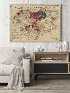 1899 Havana Street Plan Vintage Map of Havana Old Map of Wall Art Prints, Poster Prints, Framed Prints, Canvas Prints, Map Wall Decor, Map Wall Art, Paris Map, Old Maps, Wall Spaces