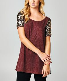 Burgundy Sequin-Shoulder Boatneck Tunic