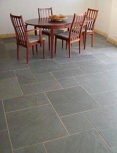 slate herringbone floor tiles - a great idea for kitchens