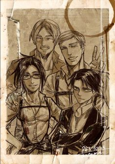 Picture of the Scouting Legions leaders. Corporal Levi, Commander Erwin, Squad Leader Mike and me Squad Leader Zoe, Hanji.