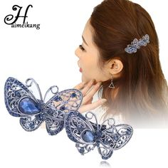 Vintage Crystal Butterfly Hair Clip Barrettes for Women Rhinestone Flower e094a65de4dc
