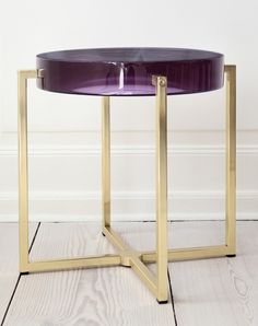 tinted acrylic and brass base side table by McCollin Bryan. available through The Apartment.