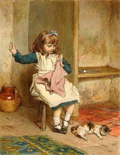 Girl Sewing ,Robert Barnes (1840 – 1895, English)