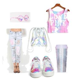 """holographic outfit"" by kamaria-diani ❤ liked on Polyvore"