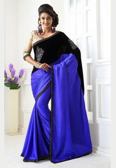 Blue & Black Velvet Saree