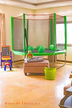 Playroom Ideas   Indoor Trampoline   When it's too hot or cold kids can play inside, it's great for movie watching too!    House Of Thrift