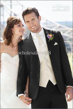 Wholesale Men Suits - Buy New Style Black Suit Ivory Vest Groom Tuxedos Best Man Notch Lapel Groomsmen Men Wedding Suits Bridegroom(Jacket+Pants+Tie+Vest) H632, $125.0 | DHgate
