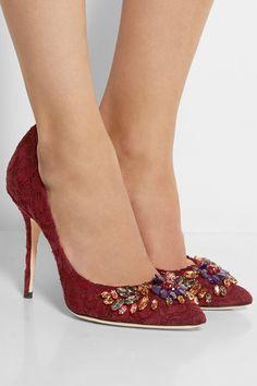 Dolce & Gabbana | Crystal-embellished lace pumps | NET-A-PORTER.COM