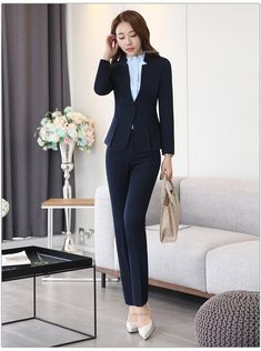 2 piece Gray Pant Suits Formal Ladies Office OL Uniform Designs Women elegant Business Work Wear Jacket with Trousers Sets Black Women Fashion, Womens Fashion For Work, Fashion Edgy, Women's Fashion Dresses, Fashion Pants, Fashion Sandals, Trouser Suits, Trousers, Pants For Women