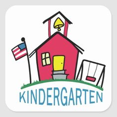 Shop Kindergarten Square Sticker created by Great_Notions. Paint Shirts, School Labels, Kindergarten Graduation, Cartoon Styles, School Days, House Party, Different Shapes, American Flag, Custom Stickers