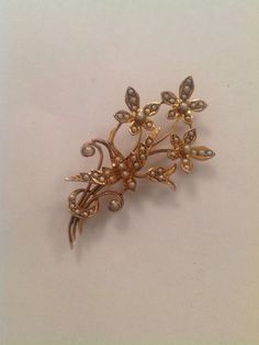 Attractive 9ct Gold & Natural Seed Pearl Set Swallow Spray Brooch  | eBay