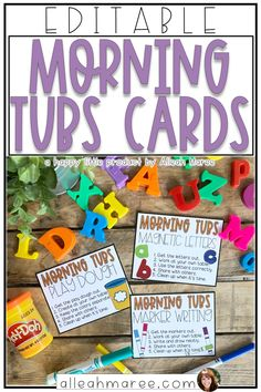 Morning Tubs Cards - Editable Labels and Directions - Morning Activities, Work Activities, Classroom Activities, Future Classroom, School Classroom, Classroom Libraries, Classroom Decor, Teachers Toolbox, New Teachers