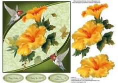 Humming Birds Flowers Topper DEcoupage on Craftsuprint designed by Barbara Hiebert - This is a card topper with hibiscus peach flowers and humming birds.The sentiment tags say,Happy BirthdayWishing You Well Happy Mother's Day  - Now available for download!