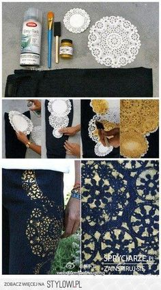 diy jeans and doilies. I'd love this on a cardigan