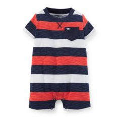 Carter's® Striped Cotton Romper - Baby Boys newborn-24m  found at @JCPenney