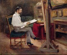 Man Painting - The Artist Morot In His Studio by Gustave Caillebotte