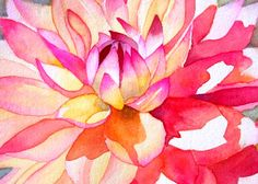 This little gem, a dahlia, is from my extensive backyard garden. I love, love, love the pink nectar color that blends into a peachy pink on each petal. It was so much fun to paint. I hope you enjoy it as well.  The original has been sold, but a print using archival ink on Arches Aquarelle watercolor paper, make it look amazingly like the original.  Print Size: 14 x 10 Other print sizes available upon request  Watermark will not appear on the print. I retain all reproduction and copyrights to…