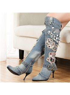 Unmatched Print Buckle Knee High Boots