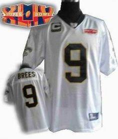 2010 super bowl XLIV jersey New Orleans Saints 9  Drew Brees white C patch  New 17fbc5551