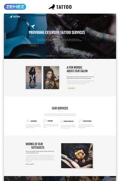 Full-featured and beautifully designed Landing Page Template for a Tattoo Salon website. Website Color Schemes, Website Themes, Website Designs, Page Template, Website Template, Templates, About Us Page Design, Tattoo Salon, Landing Page Inspiration