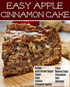 I remember my Grandma making this delicious cinnamon apple cake when I was a little girl. The combination of cinnamon, apple, and walnuts is perfection. This is an old fashioned recipe that is loved by everyone and very easy to make. Apple Walnut Cake Recipe, Apple Cinnamon Cake, Apple Pie Cake, Easy Apple Cake, Moist Apple Cake, Walnut Recipes, Apple Coffee Cakes, Apple Cake Recipes, Cake Mix Recipes