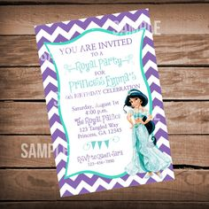 Disneys Alladin Princess Jasmine Birthday Invitation On Etsy 850 Aladdin Party