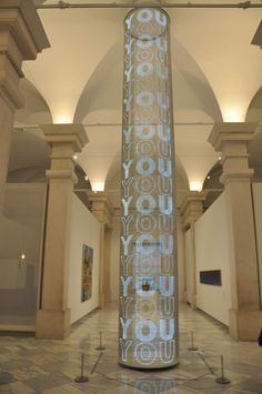 Spinning LED Column for SAAM by Jenny Holzer.