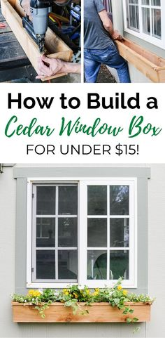 How to build and install simple DIY cedar window boxes in a few hours. A cedar window planter box is the prefect way to spruce up the front of your home! Farmhouse Windows, Farmhouse Shutters, Rustic Shutters, Repurposed Shutters, Diy Shutters, Cottage Windows, Wooden Window Boxes, Window Box Diy, Fixer Upper Style