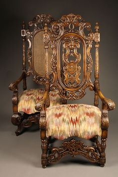 pair of 19th c carved mahogany gents u0026 ladies arm chairs c