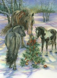 O Christmas Tree, O Christmas Tree Western Christmas, Christmas Horses, Christmas Nativity, Noel Christmas, Christmas Animals, Vintage Christmas Cards, Country Christmas, Christmas Greetings, Christmas Decor